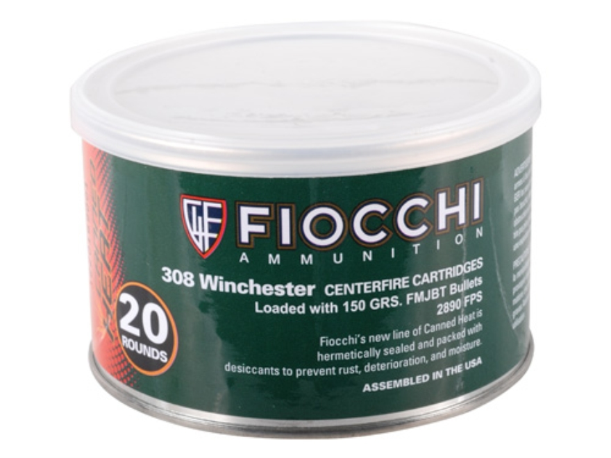 Fiocchi Canned Heat Ammunition 308 Winchester 150 Grain Full Metal Jacket Boat Tail Can...