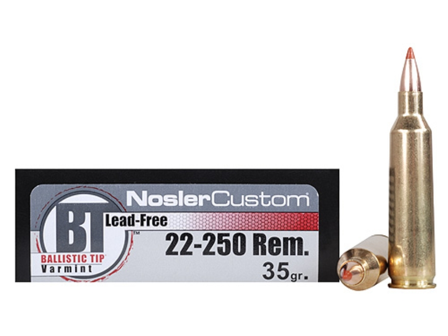 Nosler Trophy Grade Ammunition 22-250 Remington 35 Grain Ballistic Tip Varmint Lead-Fre...