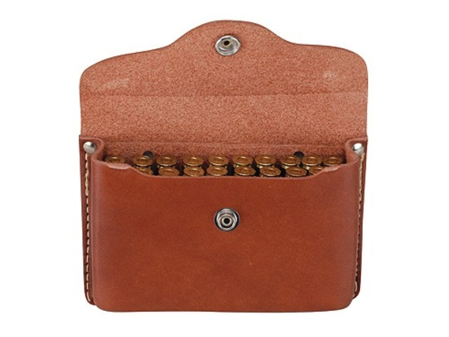 Hunter Cartridge Box Rifle Ammunition Carrier with Plastic Insert 20-Round Capacity 30-30 Winchester Leather Brown