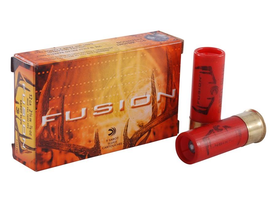 """Federal Fusion Ammunition 12 Gauge 2-3/4"""" 7/8 oz Sabot Slug Box of 5"""