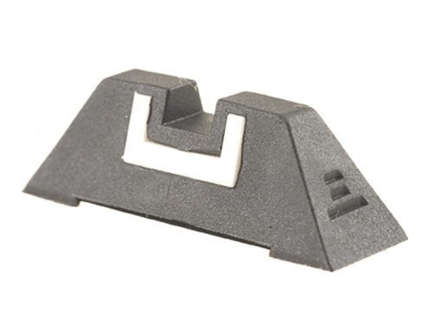 "Glock Square Rear Sight 7.3mm .287"" Height Polymer Black White Outline"