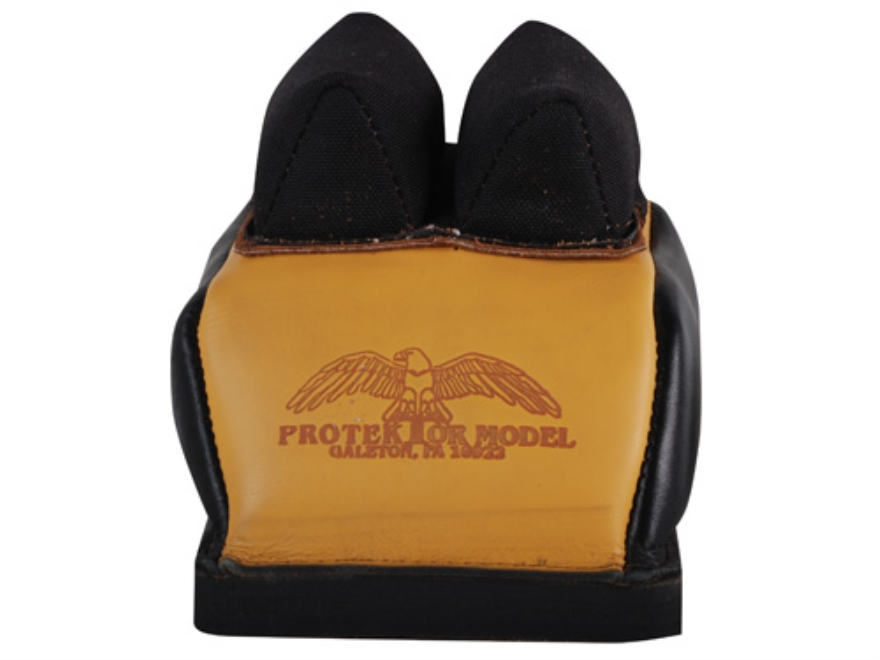 Protektor Deluxe Double Stitched Mid-Ear Rear Shooting Rest Bag with Heavy Doughnut Bottom Leather and Cordura Black and Yellow Filled