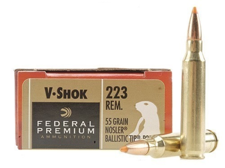 Federal Premium V-Shok Ammunition 223 Remington 55 Grain Nosler Ballistic Tip Box of 20