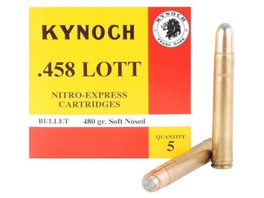 Kynoch Ammunition 458 Lott 480 Grain Woodleigh Weldcore Soft Point Box of 5
