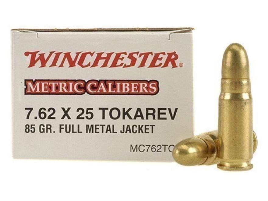 Winchester USA Ammunition 7.62x25mm Tokarev 85 Grain Full Metal Jacket