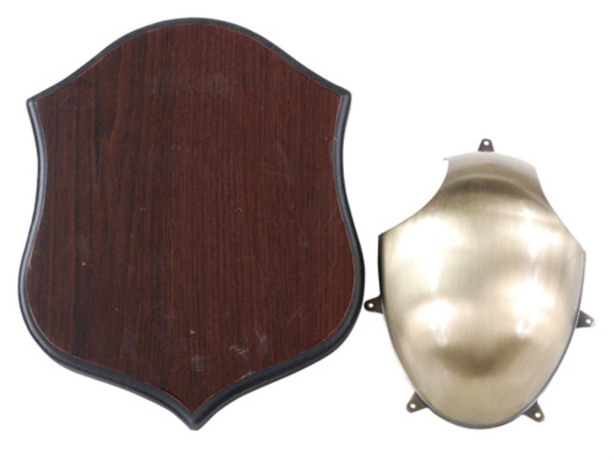Flambeau Deer Antler Mounting Kit Brass with Wood Shield
