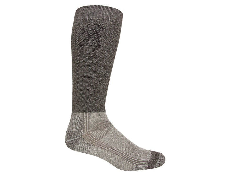 Browning Men's Cupron Antimicrobial Boot Socks Merino Wool Blend Brown Large 9-13