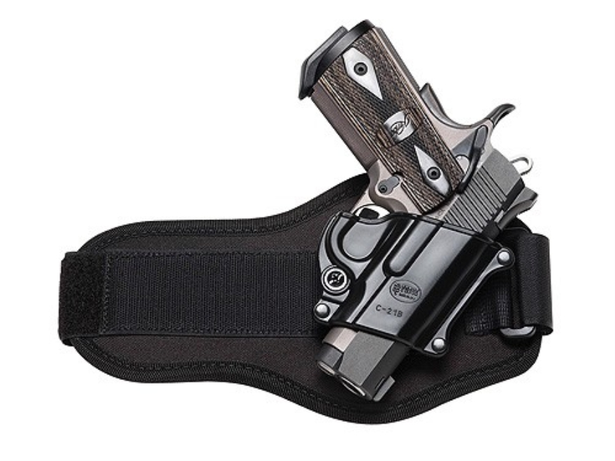 Fobus Ankle Holster Right Hand 1911 Officer, Browning Hi-Power Kahr K9, K40, P9, P40, PF9,  MK9, MK40 Polymer Black