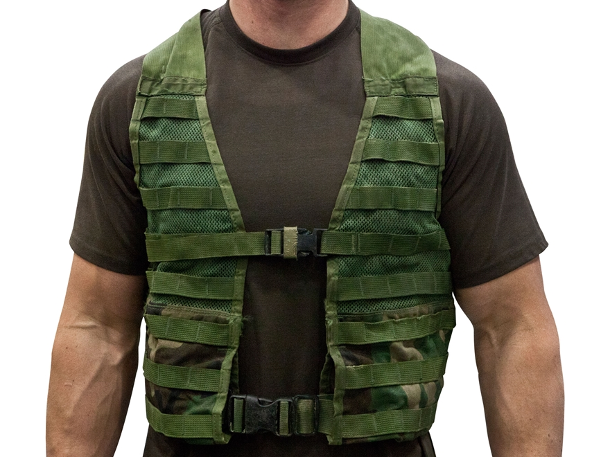 Military Surplus MOLLE Fighting Load Carrier (FLC) Grade 2 Nylon Woodland Camo
