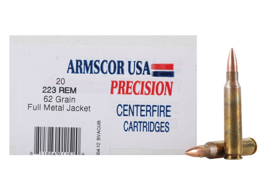 Armscor Ammunition 223 Remington 62 Grain Full Metal Jacket Box of 20