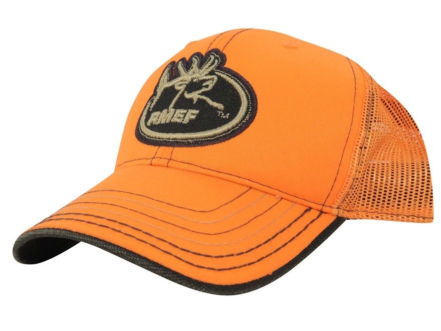 Rocky Mountain Elk Foundation Mesh Logo Cap Cotton and Polyester Blaze Orange