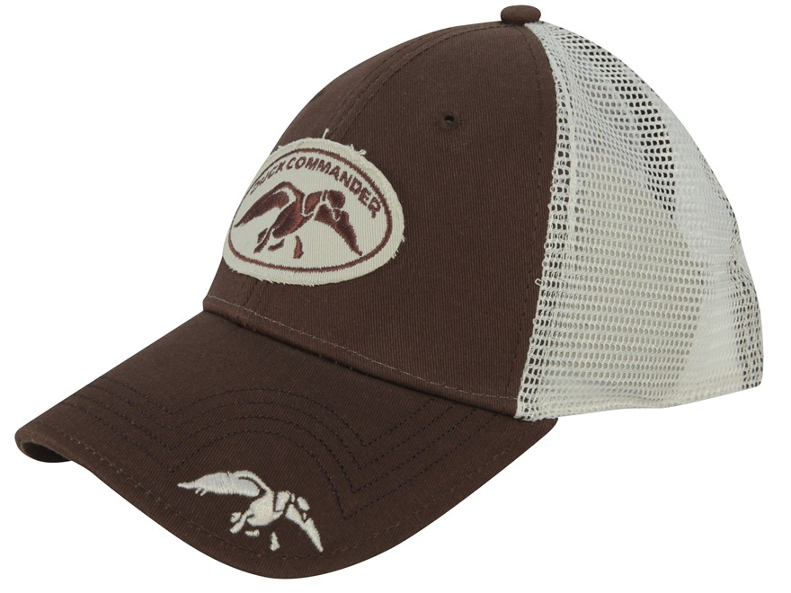 Duck Commander Mesh Logo Flex Fit Cap Cotton Polyester Blend Brown and White