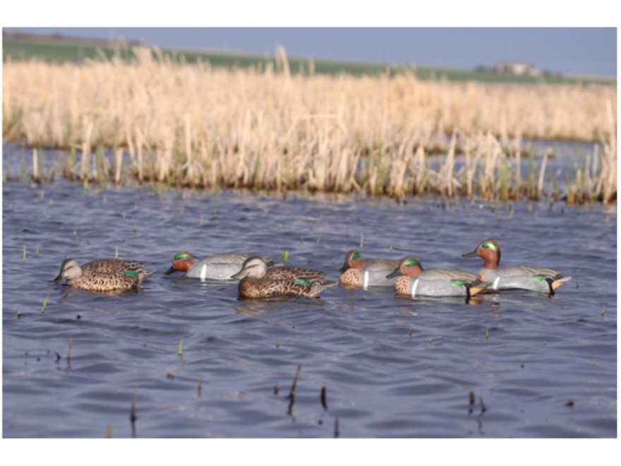 GHG Pro-Grade Weighted Keel Green Wing Teal Duck Decoys Harvester Pack of 6