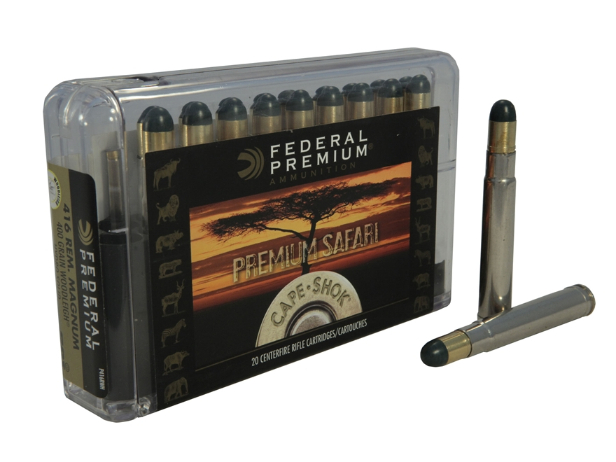 Federal Premium Cape-Shok Ammunition 416 Remington Magnum 400 Grain Woodleigh Hydrostatically Stabilized Solid Bullets Box of 20