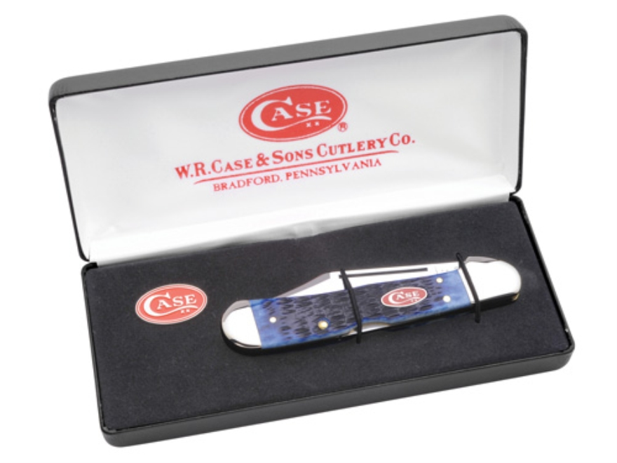 "Case 6038 CopperLock Folding Knife 2.72"" Clip Blade Stainless Steel Bone Handle Navy Blue with Case Oval Shield Pin and Gift Box"