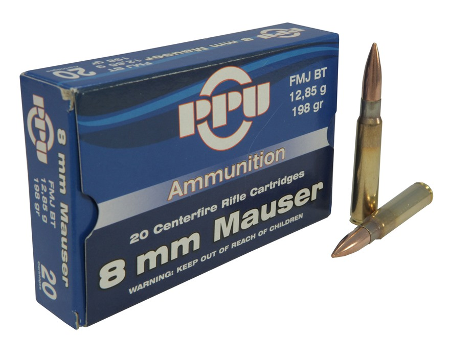 Prvi Partizan Ammunition 8x57mm JS Mauser (8mm Mauser) 198 Grain Full Metal Jacket Box of 20