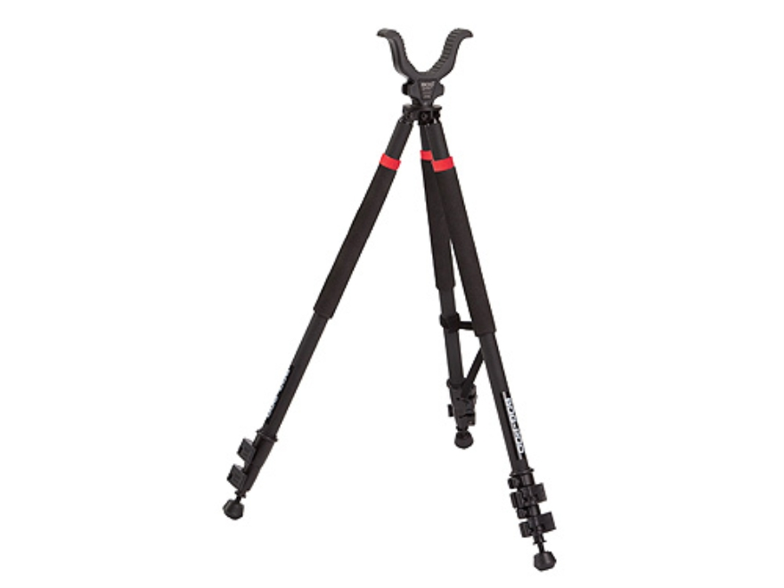 "Bog-Pod TAC-3S (Tactical Devil) Short Tripod Shooting Sticks 22"" to 40"" Swivel Head All-Terrain Feet Black and Red"