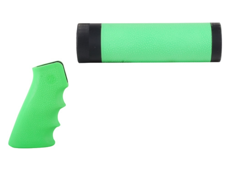 Hogue OverMolded Pistol Grip and Free Float Tube Handguard AR-15 Carbine Length Rubber Zombie Green