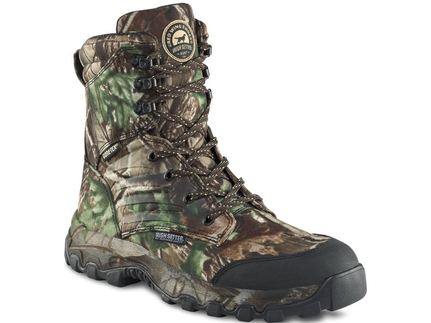 "Irish Setter Shadow Trek 8"" Waterproof Uninsulated Hunting Boots Nylon Realtree Hardwoods Green Camo Men's"