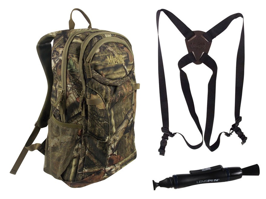 MidwayUSA Deluxe Binocular Harness Nylon Black with MidwayUSA LensPen and MidwayUSA Backpack PVC Coated Polyester Mossy Oak Break-Up Infinity Camo