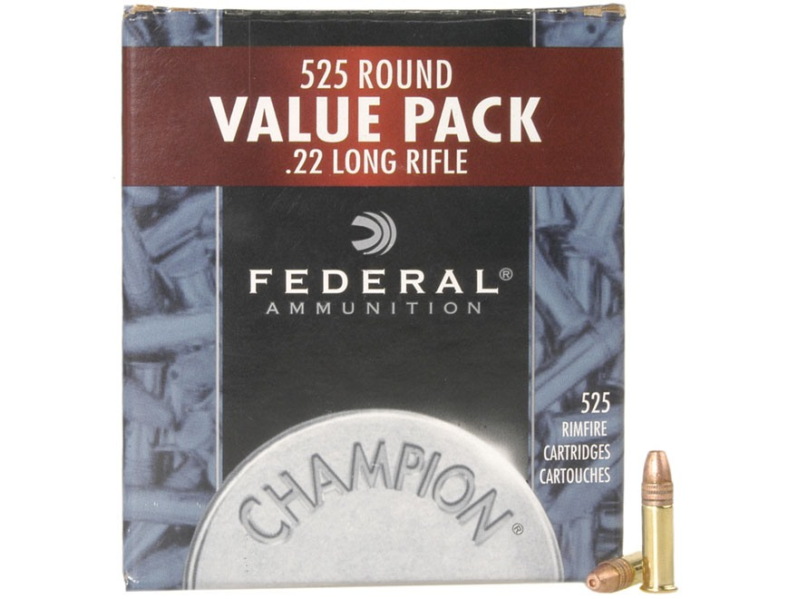 Federal Champion Target Ammunition 22 Long Rifle 36 Grain Plated Lead Hollow Point Box ...