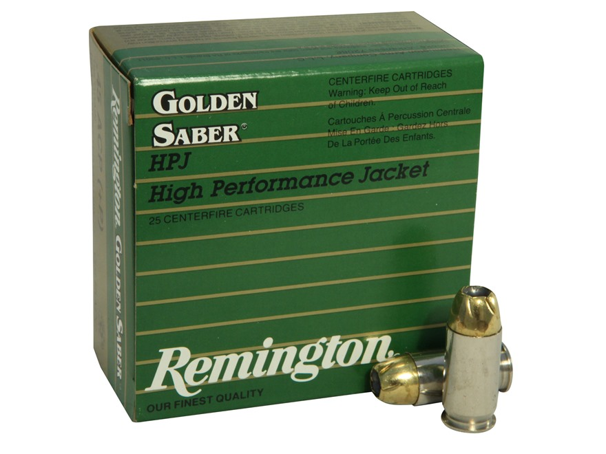 Remington Golden Saber Ammunition 45 ACP +P 185 Grain Brass Jacketed Hollow Point Box o...