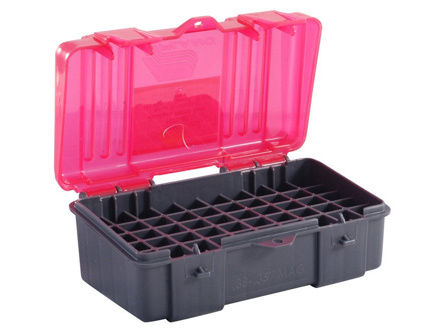 Plano Ammo Box 38 Special, 357 Magnum 50-Round Plastic Dark Gray and Clear Rose