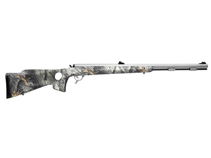 "Thompson Center Omega Muzzleloading Rifle 50 Caliber Synthetic Thumbhole Stock Realtree Hardwoods Camo 28"" Fluted Barrel Stainless Steel"