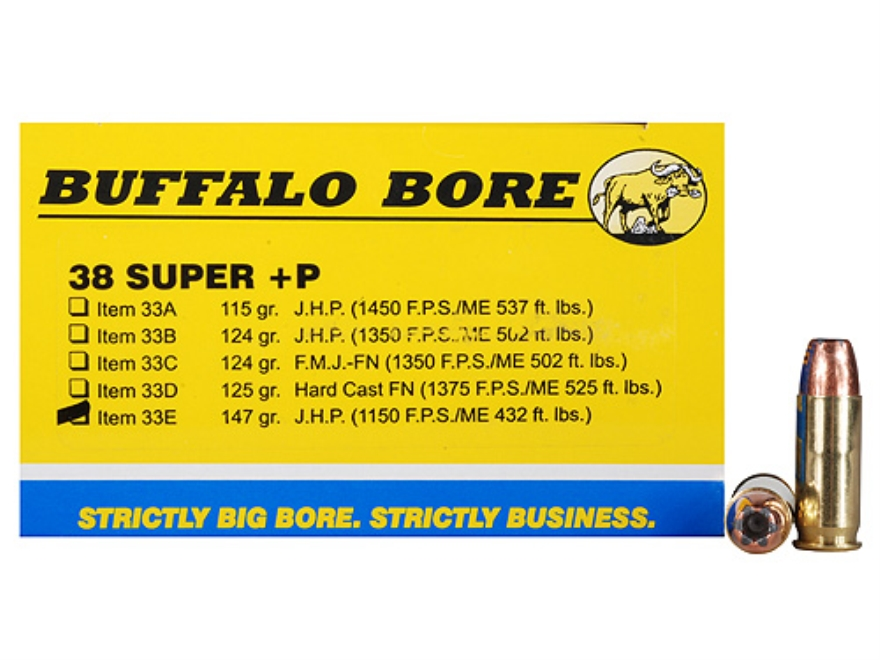Buffalo Bore Ammunition 38 Super +P 147 Grain Jacketed Hollow Point Box of 20