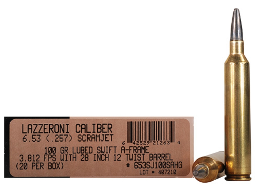 Lazzeroni Ammunition 6.53 Scramjet 100 Grain Swift A-Frame Semi-Sptizer Box of 20