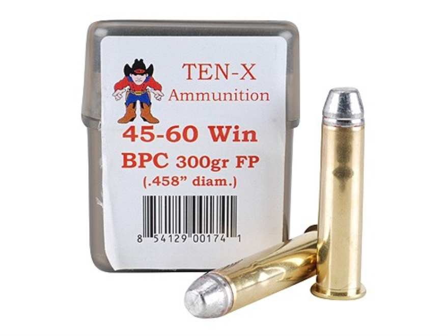 Ten-X Cowboy Ammunition 45-60 WCF 300 Grain Flat Point BPC Box of 20