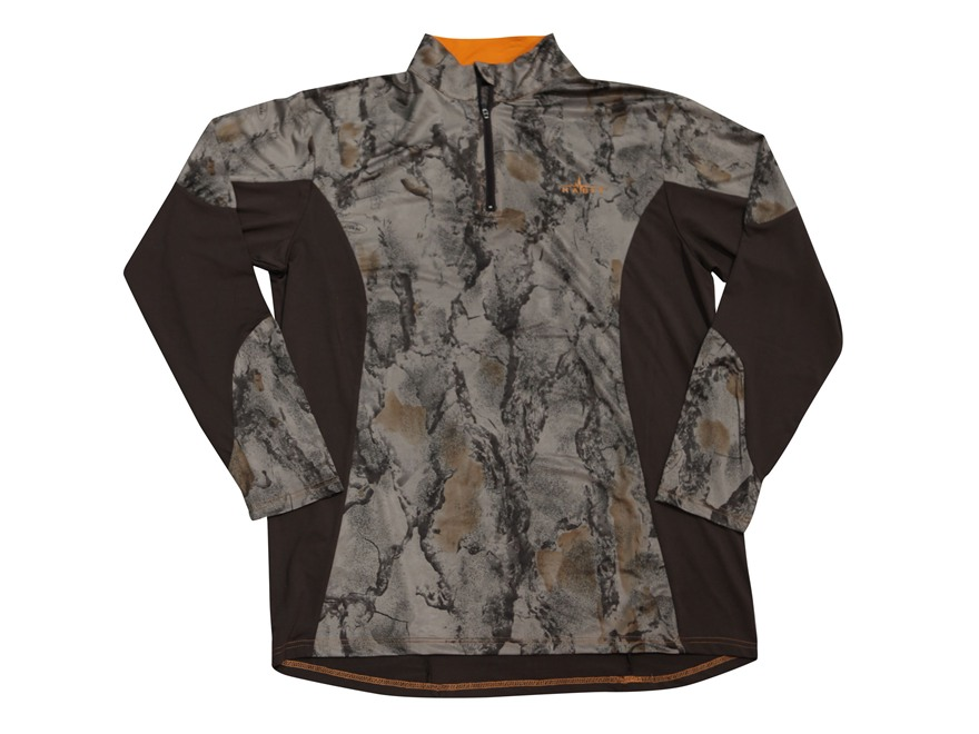 Natural Gear Men's Scent Factor Performance 1/4 Zip Shirt Long Sleeve Polyester Natural Gear Natural Camo and Brown XL 45-49