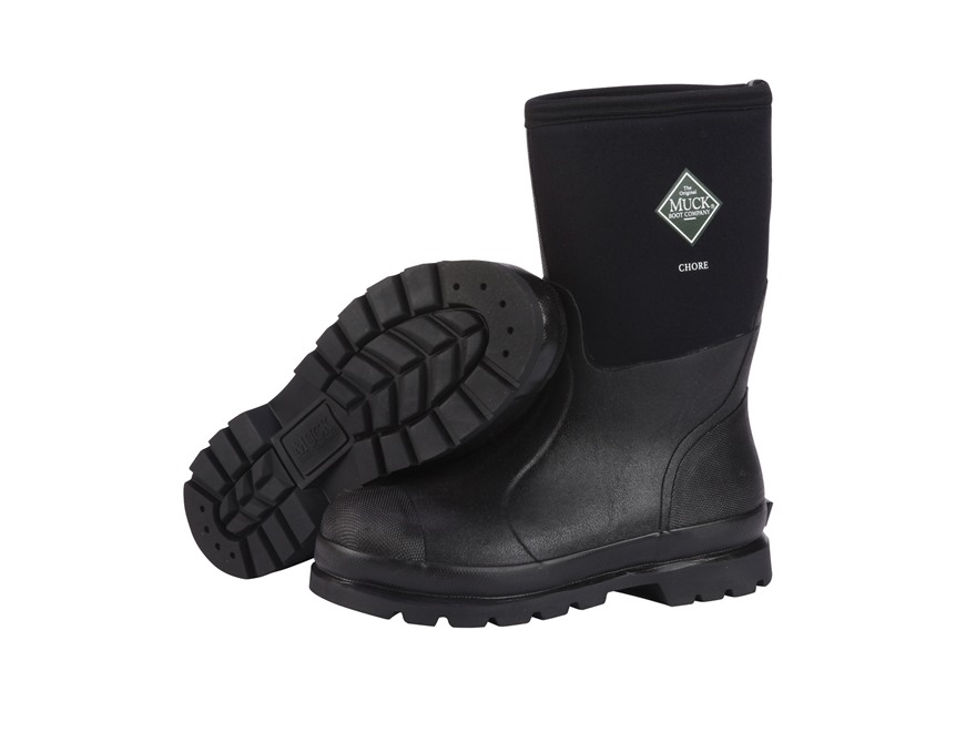 "Muck Chore Mid 12"" Waterproof Insulated Work Boots Rubber and Nylon Black Men's"