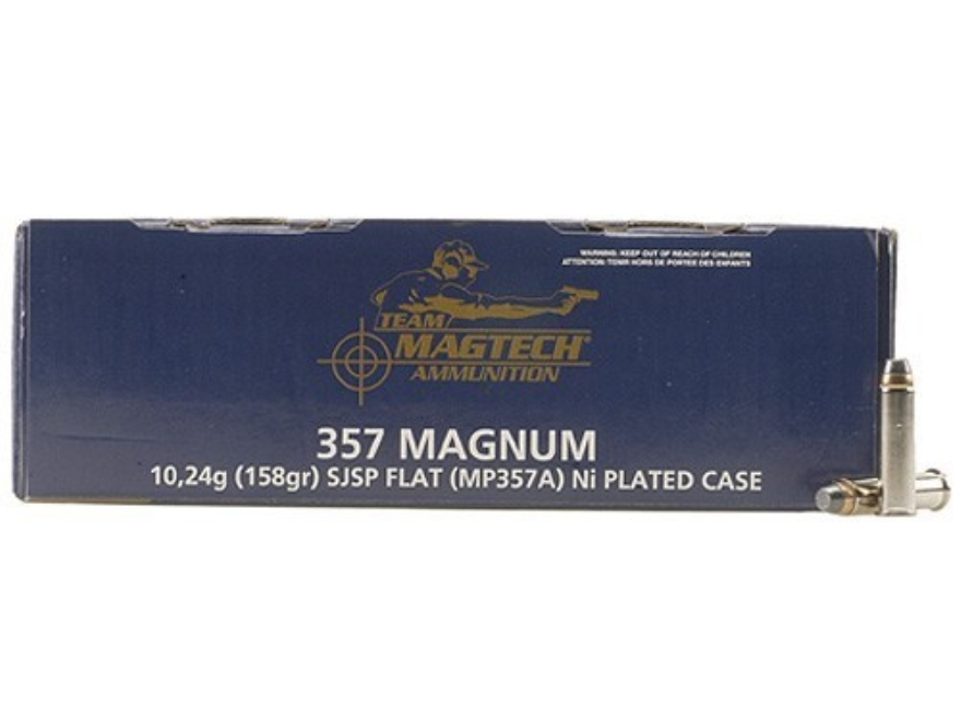 Magtech Shootin' Size Ammunition 357 Magnum 158 Grain Semi-Jacketed Soft Point Flat Nose Box of 250