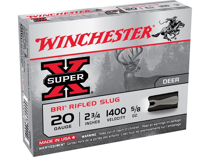 "Winchester Super-X Ammunition 20 Gauge 2-3/4"" 5/8 oz BRI Sabot Slug Box of 5"