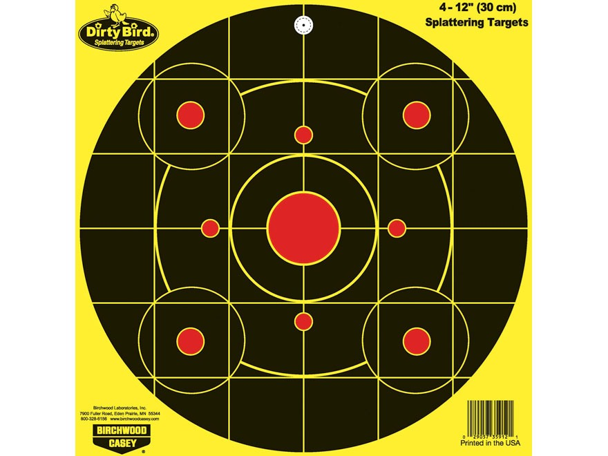 "Birchwood Casey Dirty Bird Chartreuse 12"" Bullseye Targetss Pack of 4"