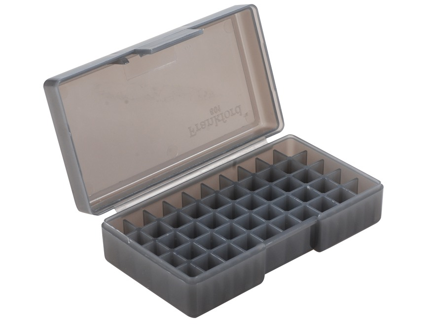 Frankford Arsenal Flip-Top Ammo Box #501 30 Luger, 380 ACP, 9mm Luger 50-Round Plastic Smoke Box of 10