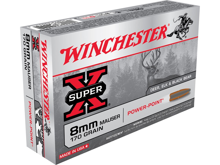 Winchester Super-X Ammunition 8x57mm JS Mauser (8mm Mauser) 170 Grain Power-Point Box of 20