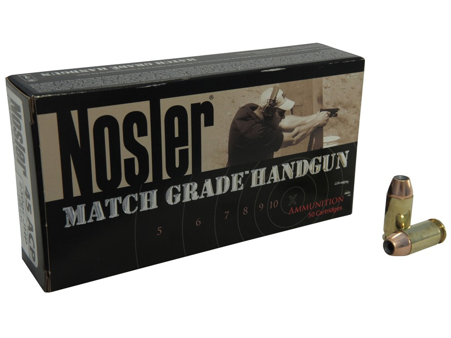 Nosler Match Grade Ammunition 45 ACP 230 Grain Jacketed Hollow Point Box of 50