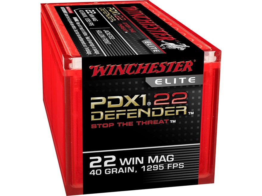 Winchester PDX1 Defender Ammunition 22 Winchester Magnum Rimfire (WMR) 40 Grain Bonded Jacketed Hollow Point Box of 50