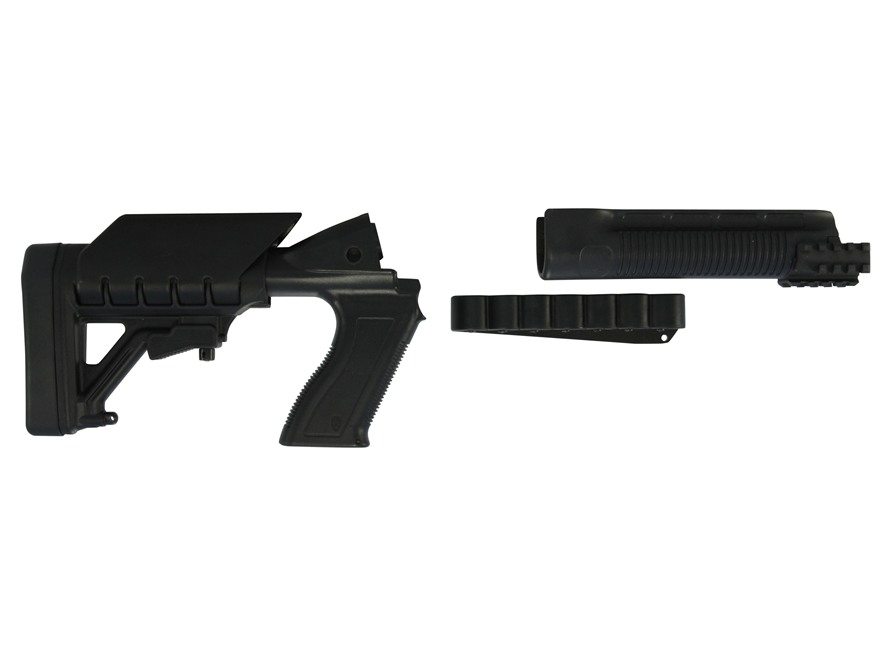 Archangel 500SC Tactical Shotgun Stock System Mossberg 500, 590 with Receiver Mount Shell Carrier - Black Polymer
