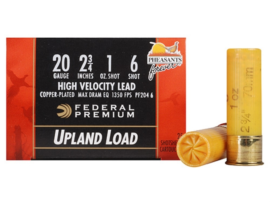 "Federal Premium Wing-Shok Pheasants Forever Ammunition 20 Gauge 2-3/4"" 1 oz Buffered #6 Copper Plated Shot Box of 25"