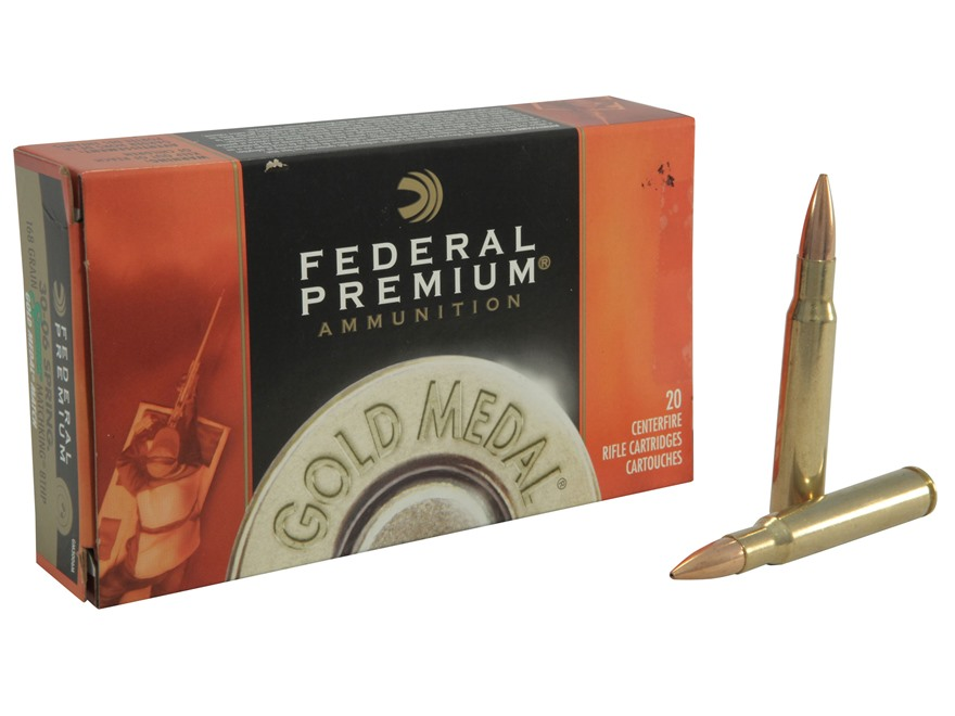 Federal Premium Gold Medal Ammunition 30-06 Springfield 168 Grain Sierra MatchKing Hollow Point Boat Tail