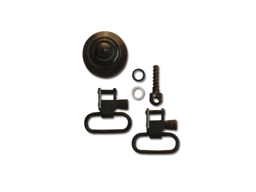 GrovTec Sling Swivel Set Mossberg 590, 835 Magazine Cap with Swivel Stud Locking Swivels Rear Screw Swivel Stud 12 Gauge Steel Black