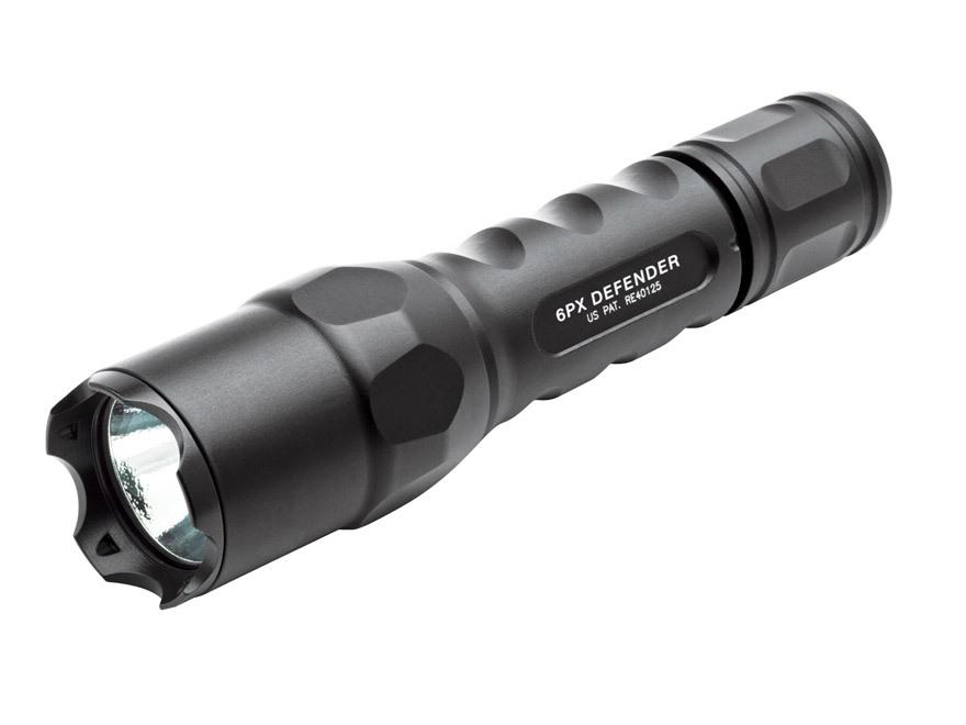 Surefire 6PX Defender Flashlight LED with 2 CR123A Batteries Aluminum Black