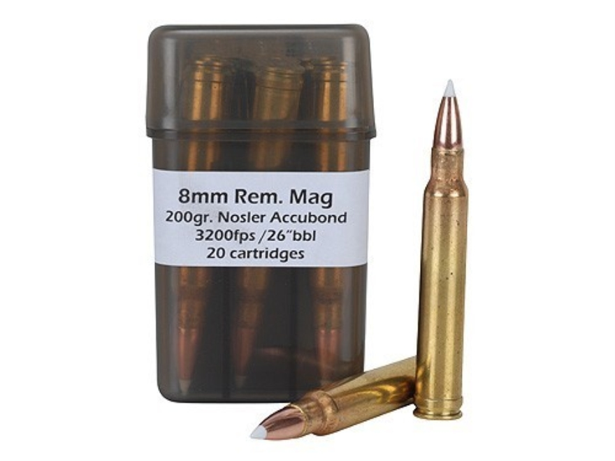 Doubletap Ammunition 8mm Remington Magnum 200 Grain Nosler AccuBond Spitzer Box of 20