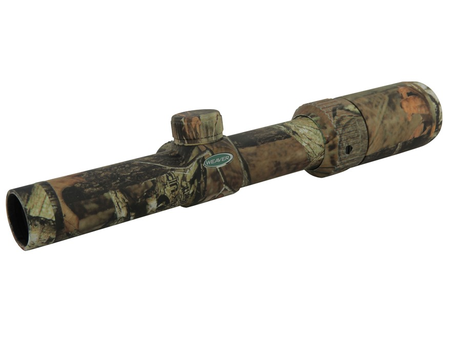 Weaver Kaspa Muzzleloader Rifle Scope 30mm Tube 1-4x 24mm Ballistic-X Reticle Mossy Oak Break-Up Camo
