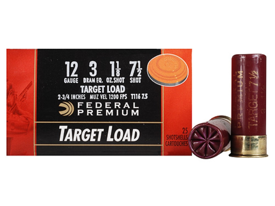 "Federal Premium Gold Medal Target Ammunition 12 Gauge 2-3/4"" 1-1/8 oz #7-1/2 Shot Box of 25"