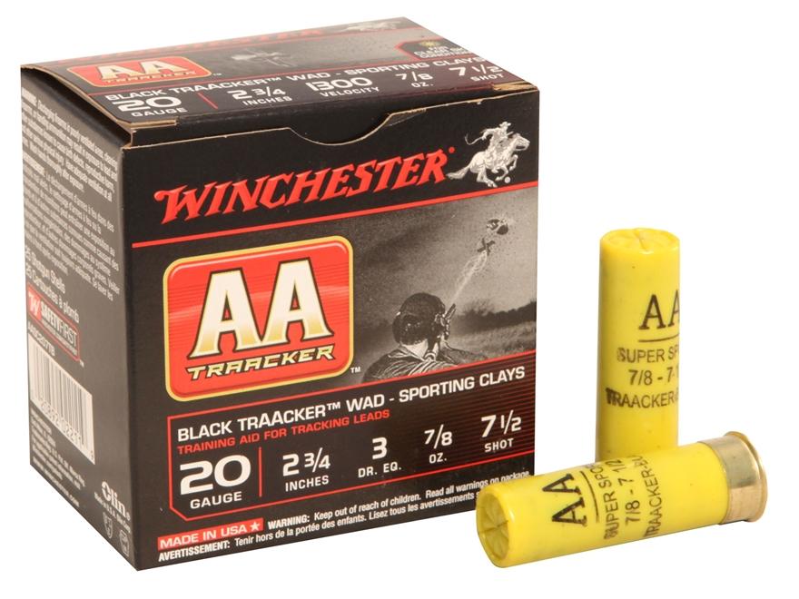 "Winchester AA TrAAcker Ammunition 20 Gauge 2-3/4"" 7/8 oz #7-1/2 Shot Black Wad"