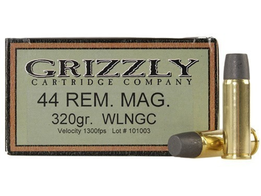 Grizzly Ammunition 44 Remington Magnum 320 Grain Cast Performance Lead Wide Flat Nose Gas Check Box of 20